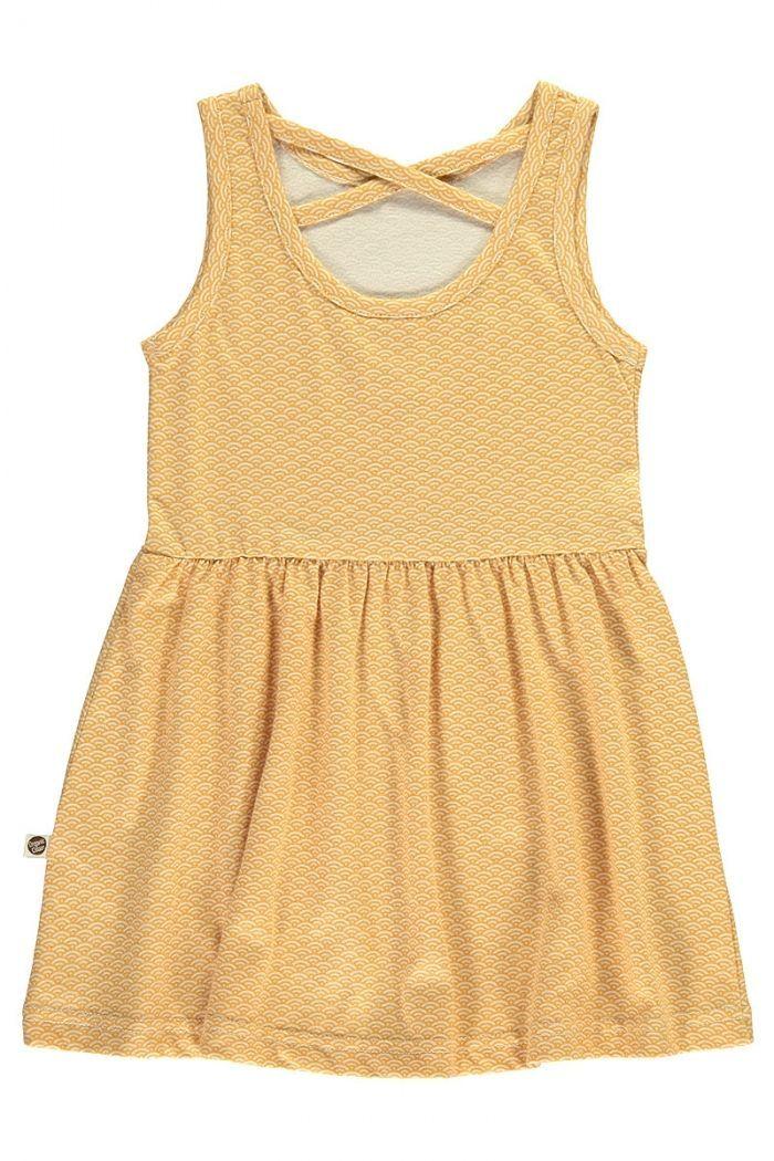 Espalda vestido infantil tirantes amarillo estampado japonés