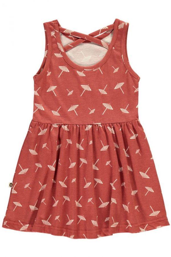 Espalda vestido infantil tirantes terracota estampado sombrillas