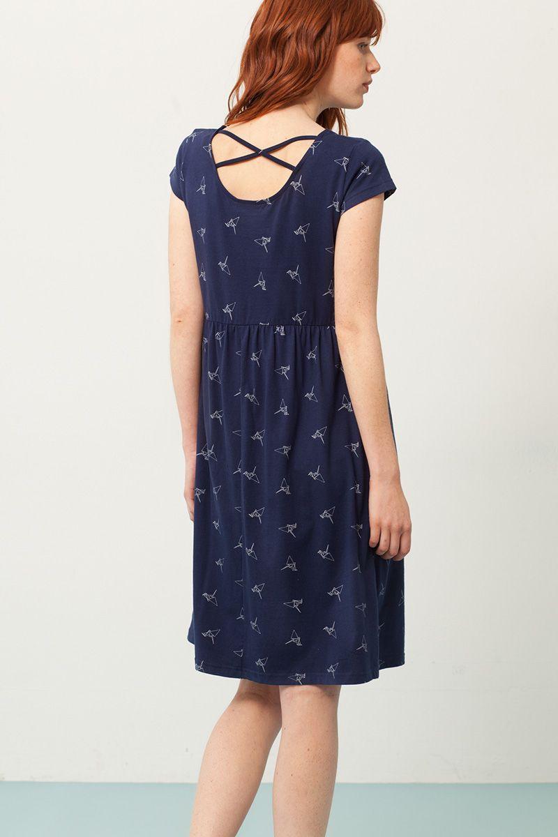 Espalda vestido oversize azul estampado origami