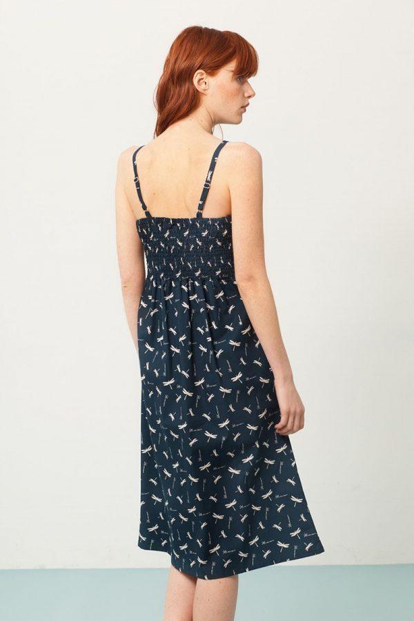 Vestido tirantes azul con escote en la espalda