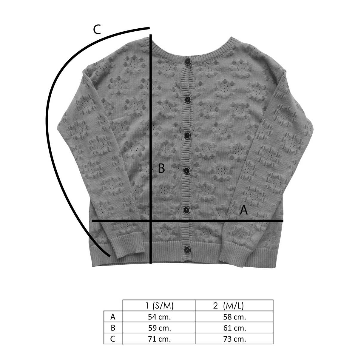 Medidas chaqueta de punto calada pistacho