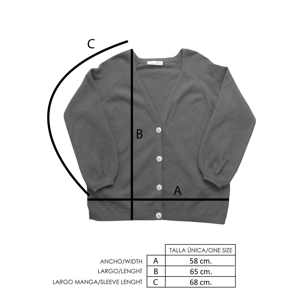 Medidas chaqueta de punto terracota mujer