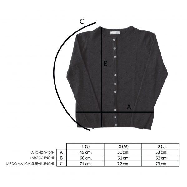 Medidas chaqueta punto mujer lana