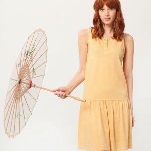 Vestido charlestón amarillo estampado abanicos