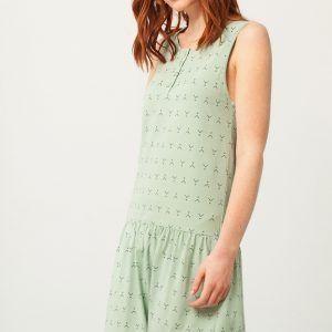 Vestido charlestón verde estampado abstracto