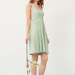 Vestido corte imperio verde estampado abstracto