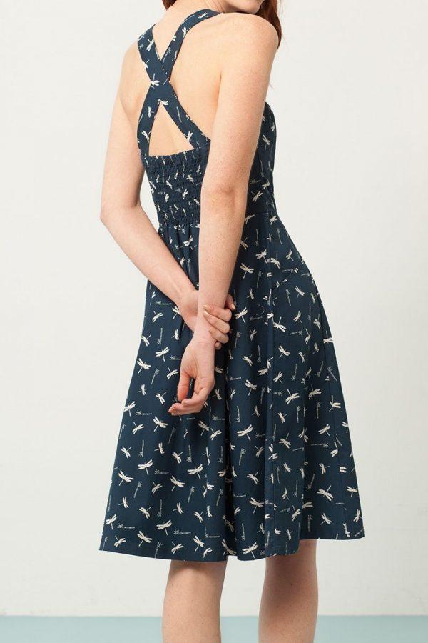 Vestido cruzado azul estampado de libélulas espalda