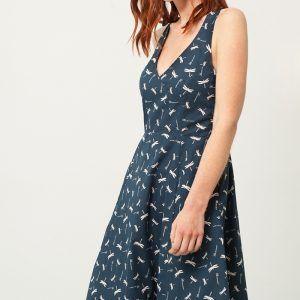 Vestido cruzado azul estampado de libélulas