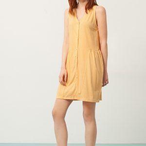 Vestido escote V color miel con estampado de abanicos