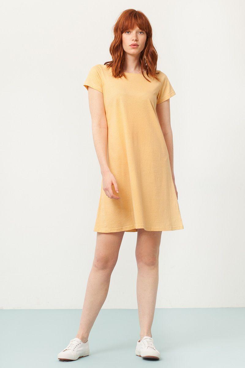 Vestido evasé amarillo estampado abanicos