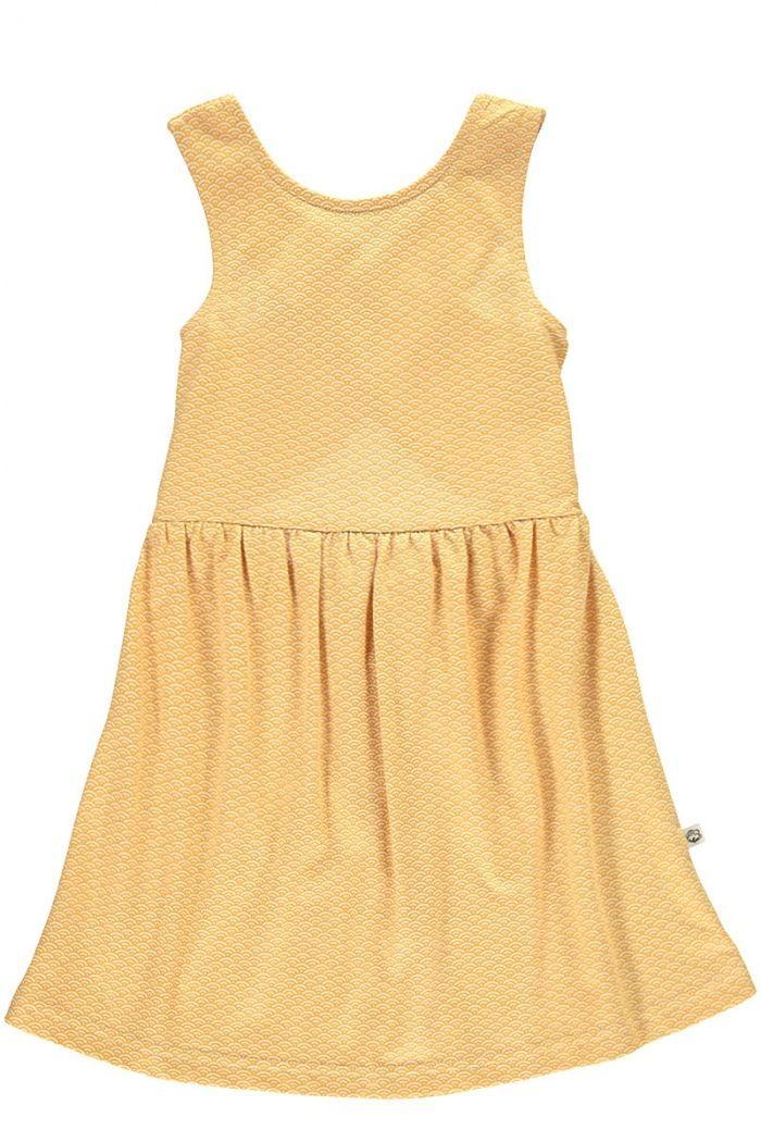 Vestido infantil espalda cruzada miel estampado japonés