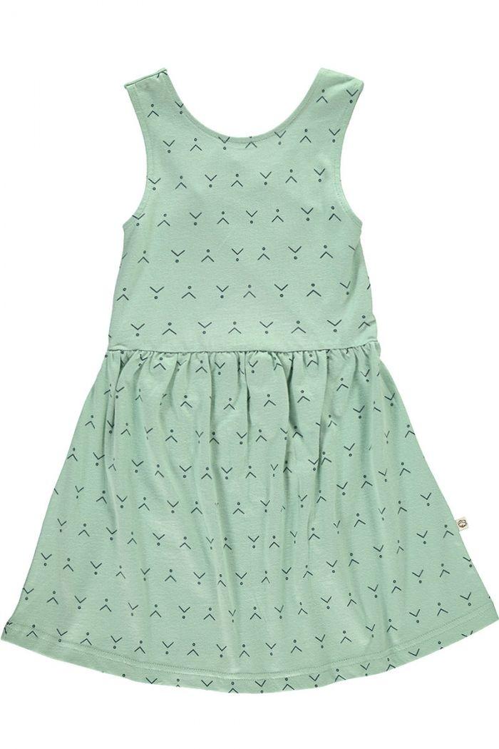Vestido infantil espalda cruzada verde estampado abstracto