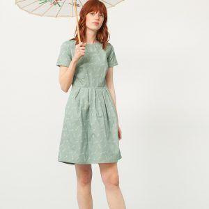 Vestido manga corta verde estampado bambú