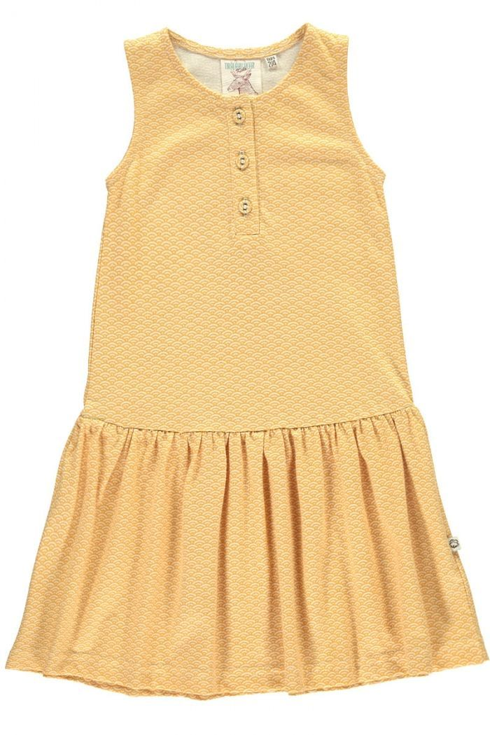 Vestido infantil charlestón amarillo estampado japonés