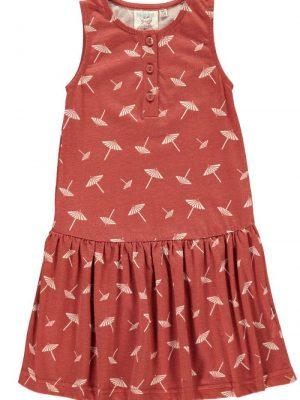 Vestido infantil charlestón terracota estampado