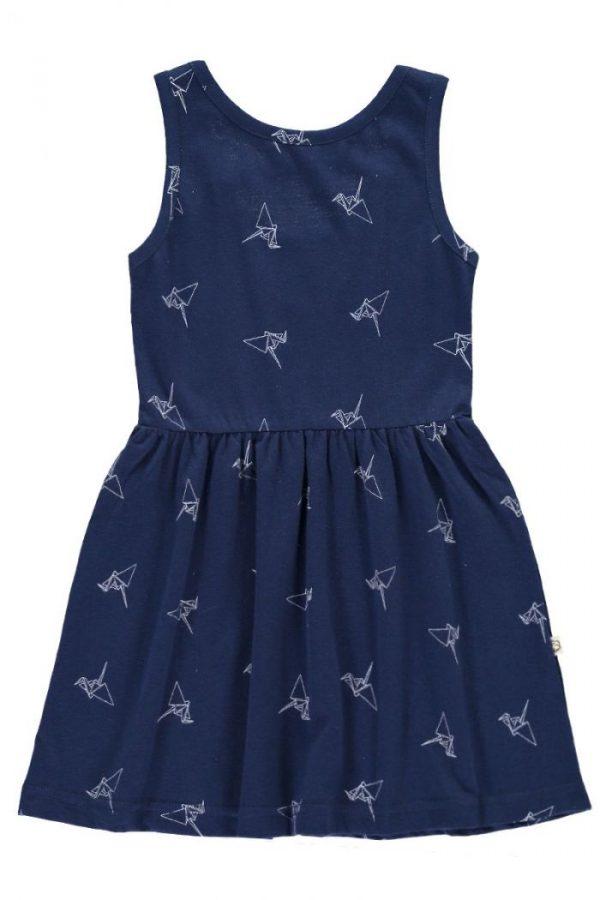 Vestido infantil tirantes azul estampado origami
