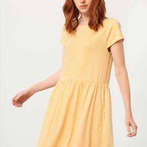 Vestido oversize amarillo estampado abanicos