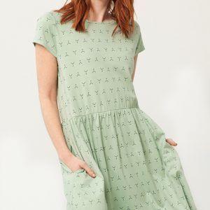 Vestido oversize verde estampado abstracto