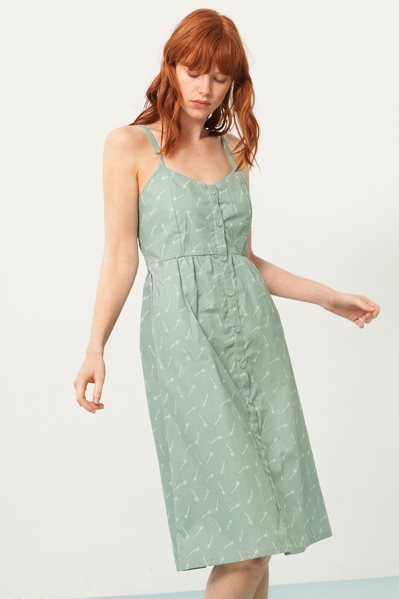 8d35688db1 Vestido tirantes verde estampado bambú. Moda sostenible - Fieito