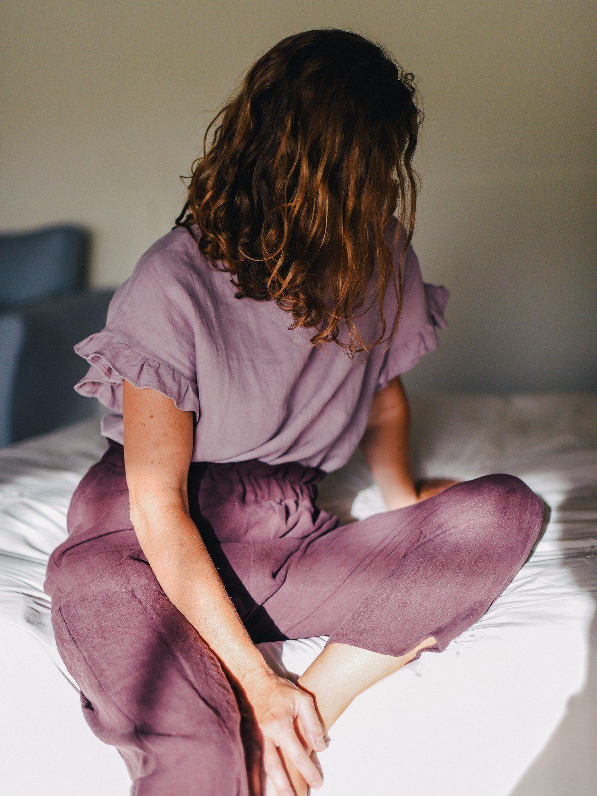 Blusa de lino ecológico color lavanda