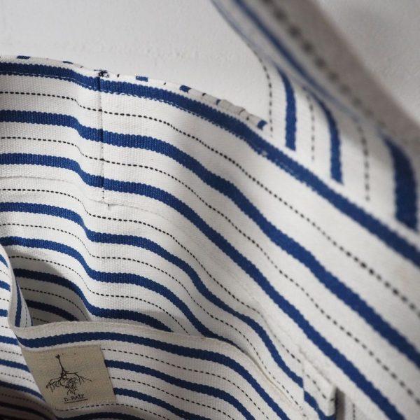 Bolsillo interior bolso playa de rayas azules