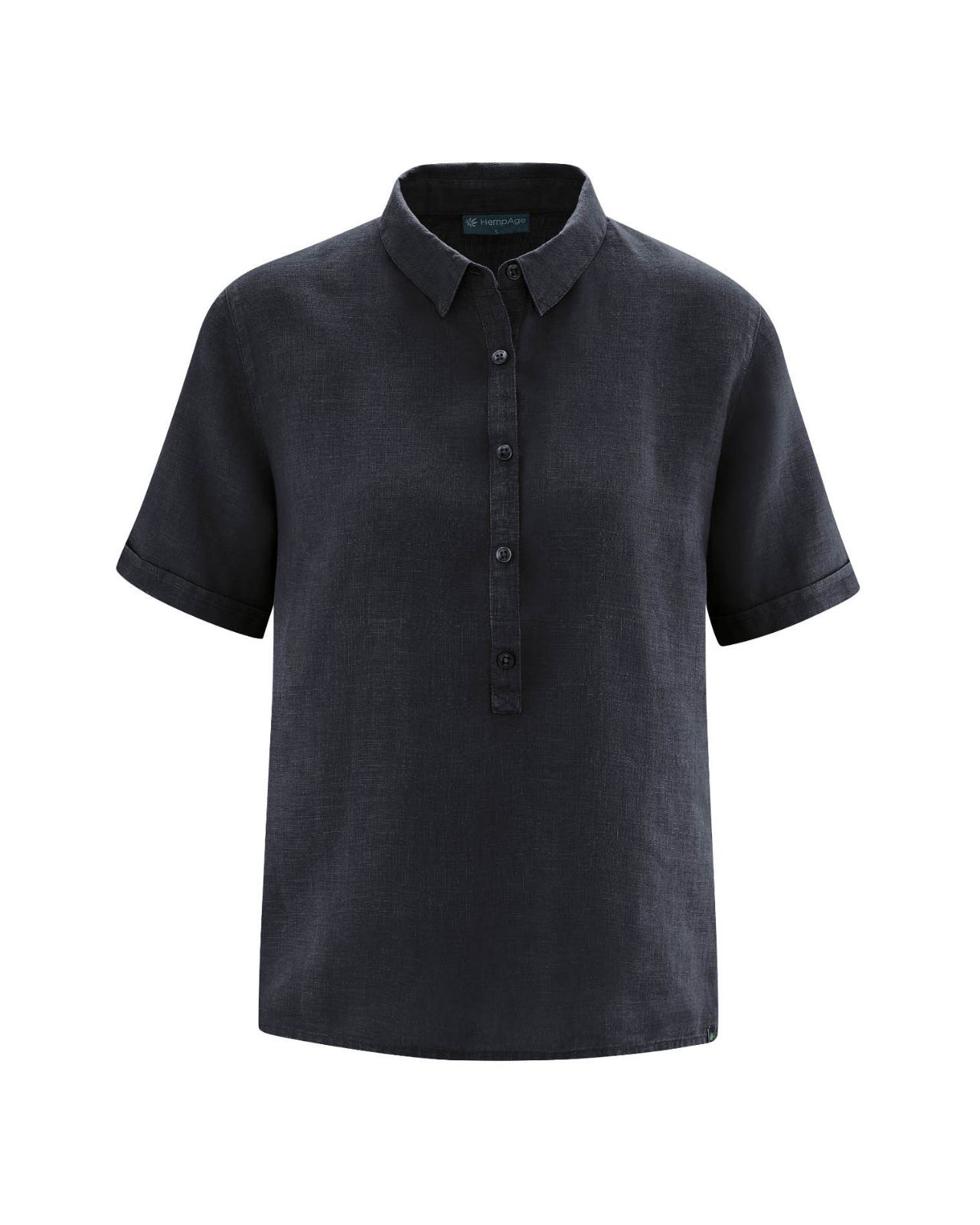 Camisa manga corta mujer color negro cáñamo