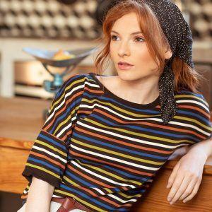 Camiseta de punto con rayas multicolor