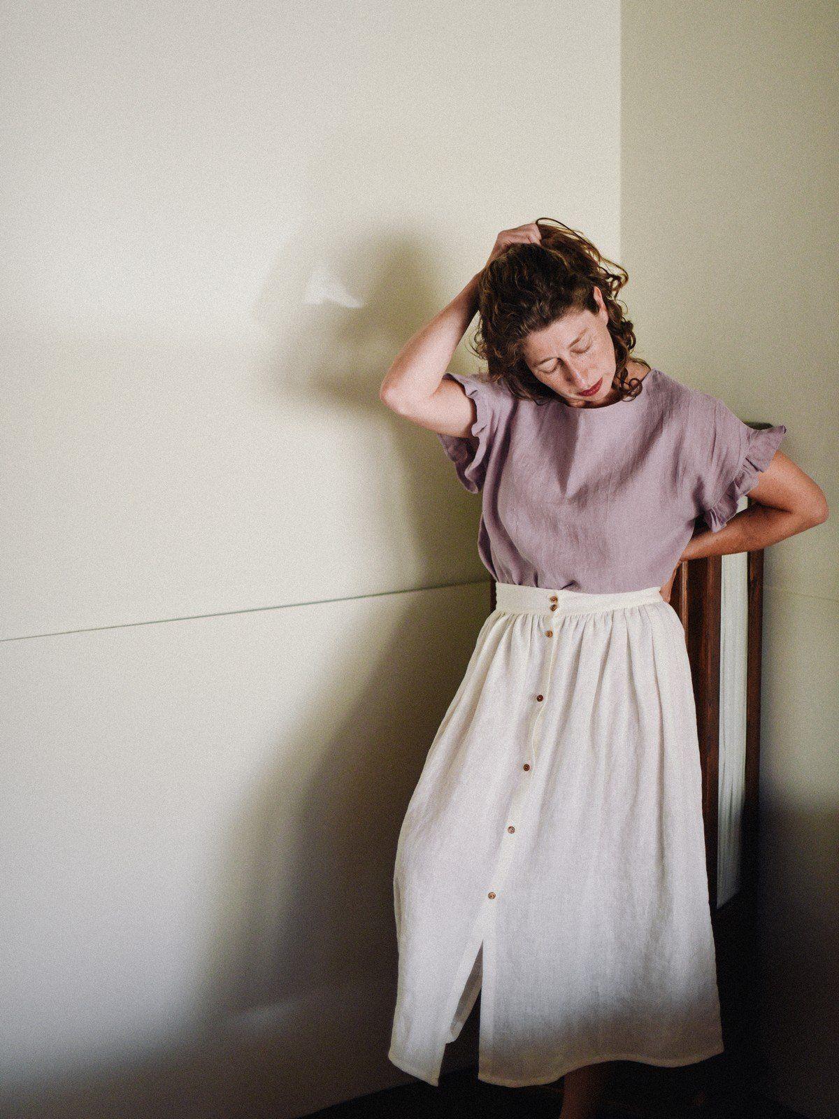 Falda blanca de lino