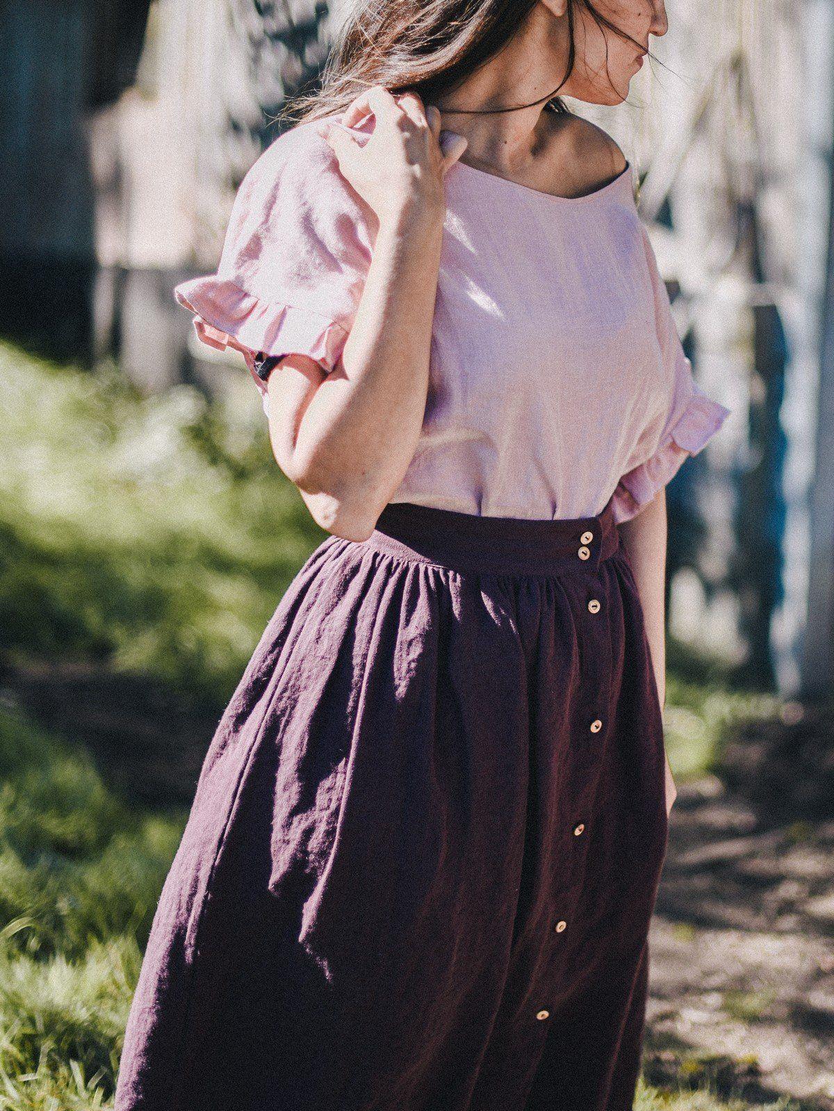 Falda midi con botones 100% lino