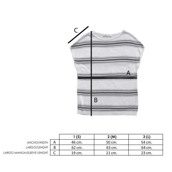 Medidas camiseta a rayas azul y blanca