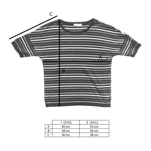 Medidas camiseta de punto con rayas multicolor