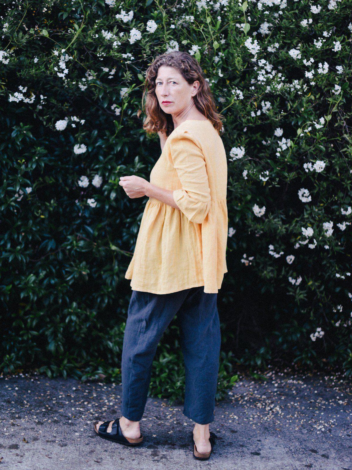 Pantalon De Lino Mujer Con Elastico 100 Lino Lavado Ecologico Fieito