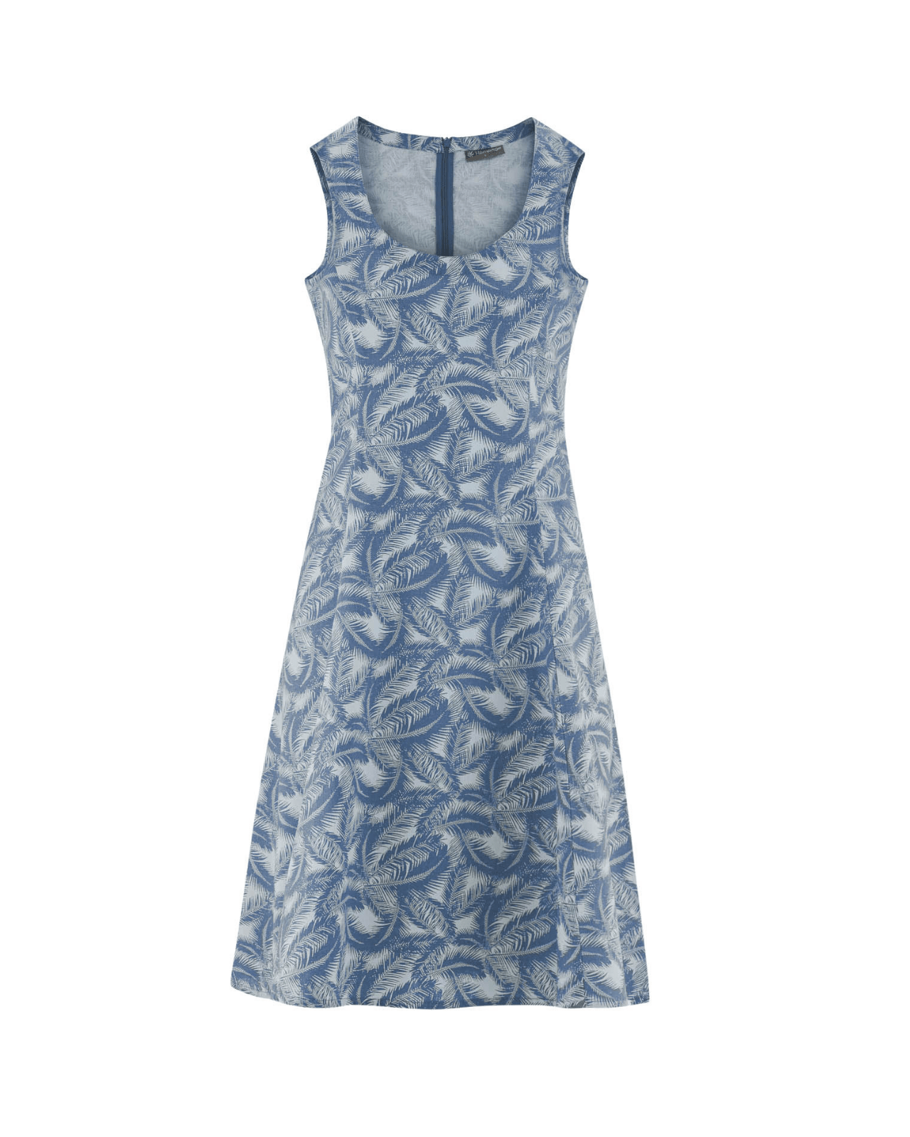 Vestido de cáñamo y algodón orgánico estampado palmera color azul