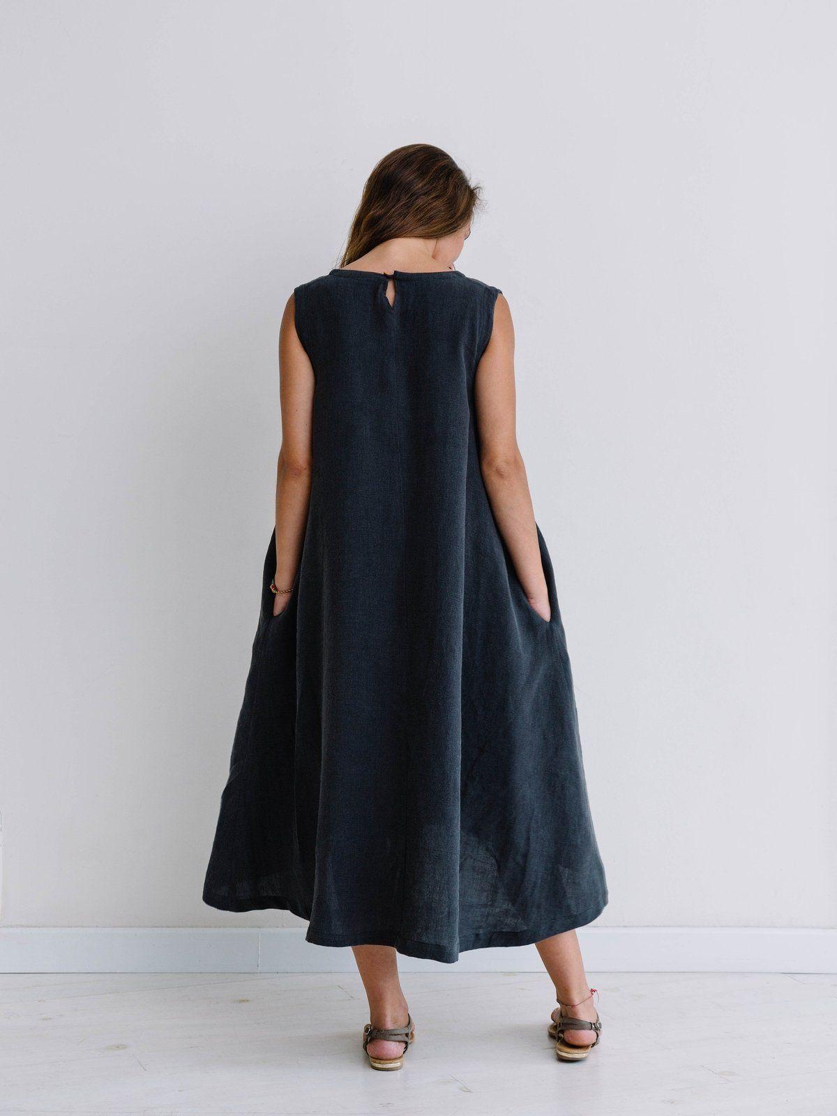 Vestido de lino largo sin mangas espalda color carbón