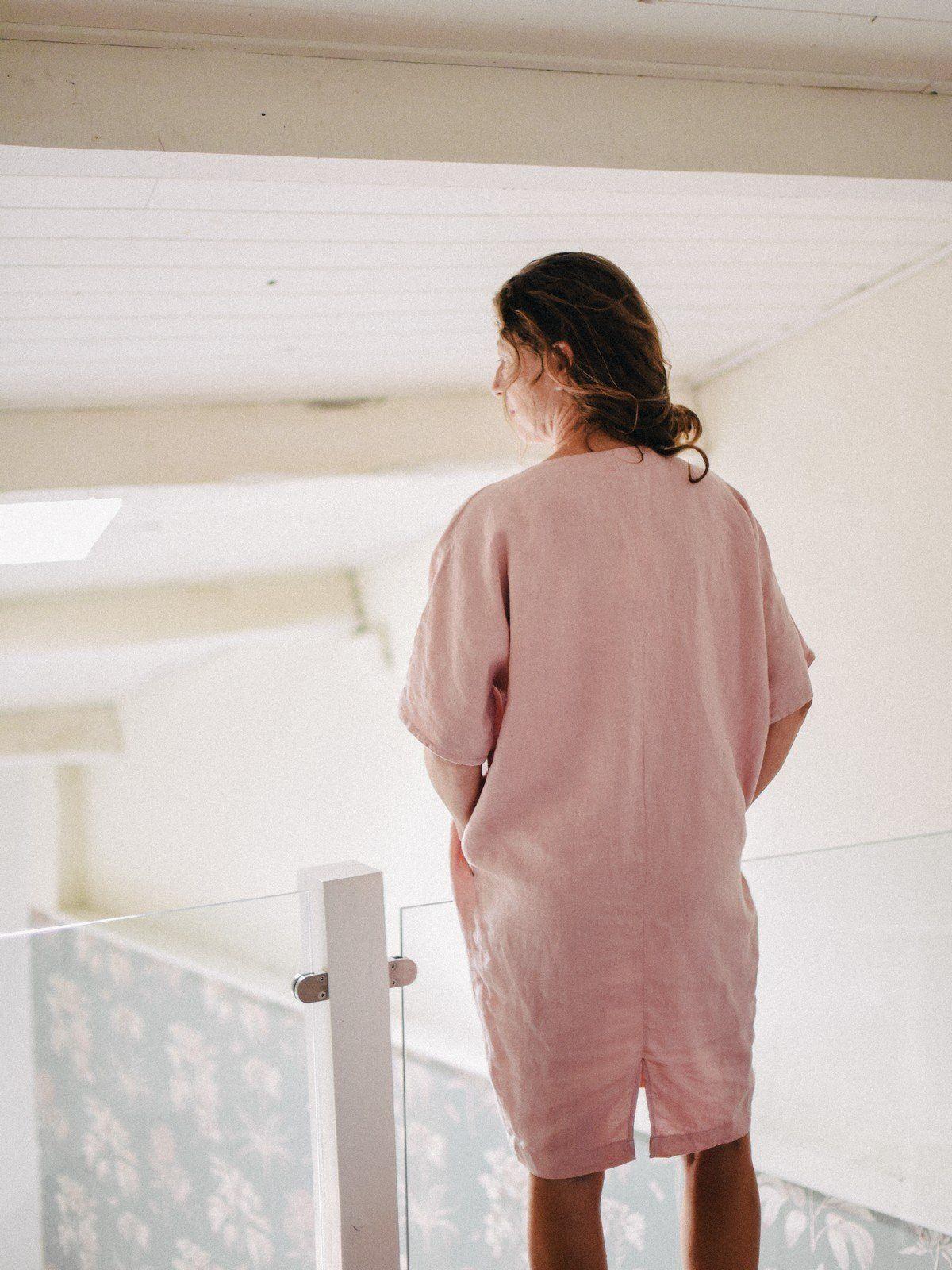 vestido de lino mujer con manga japonesa color rosa palo