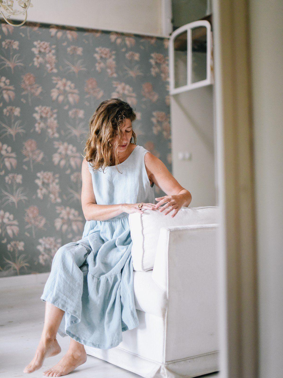 Vestido midi mujer de lino con volantes color aguamarina