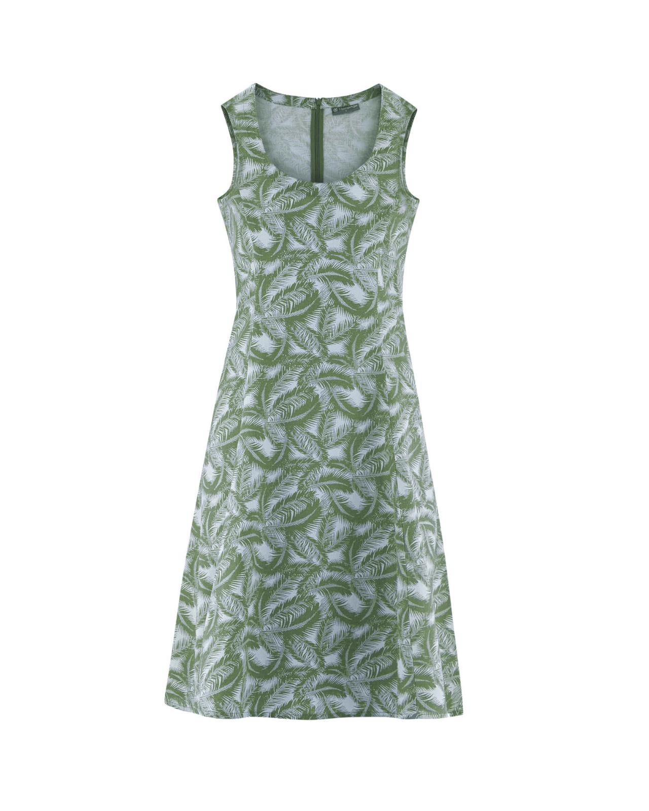 Vestido verde de cáñamo y algodón orgánico estampado palmera