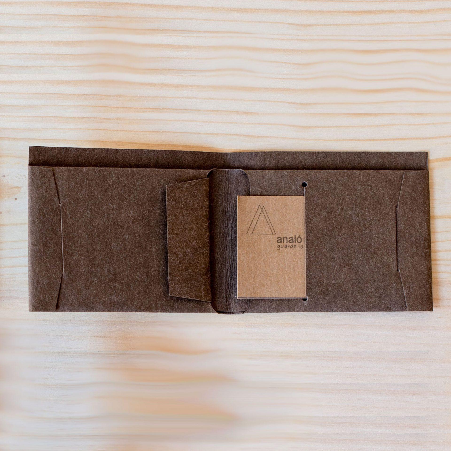 Billetera de papel lavable abierta