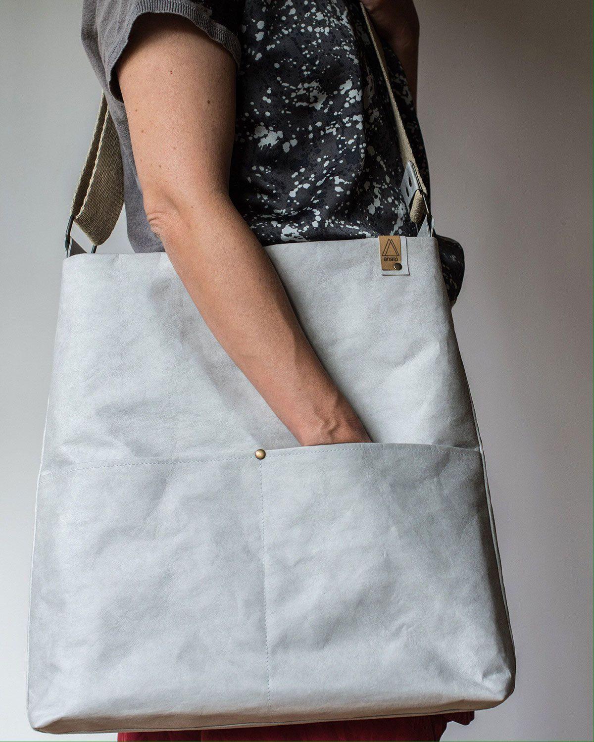 Bolso de papel lavable con cremallera y bolsillos