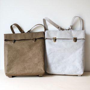 Mochila papel backpack pequeña marrón y gris