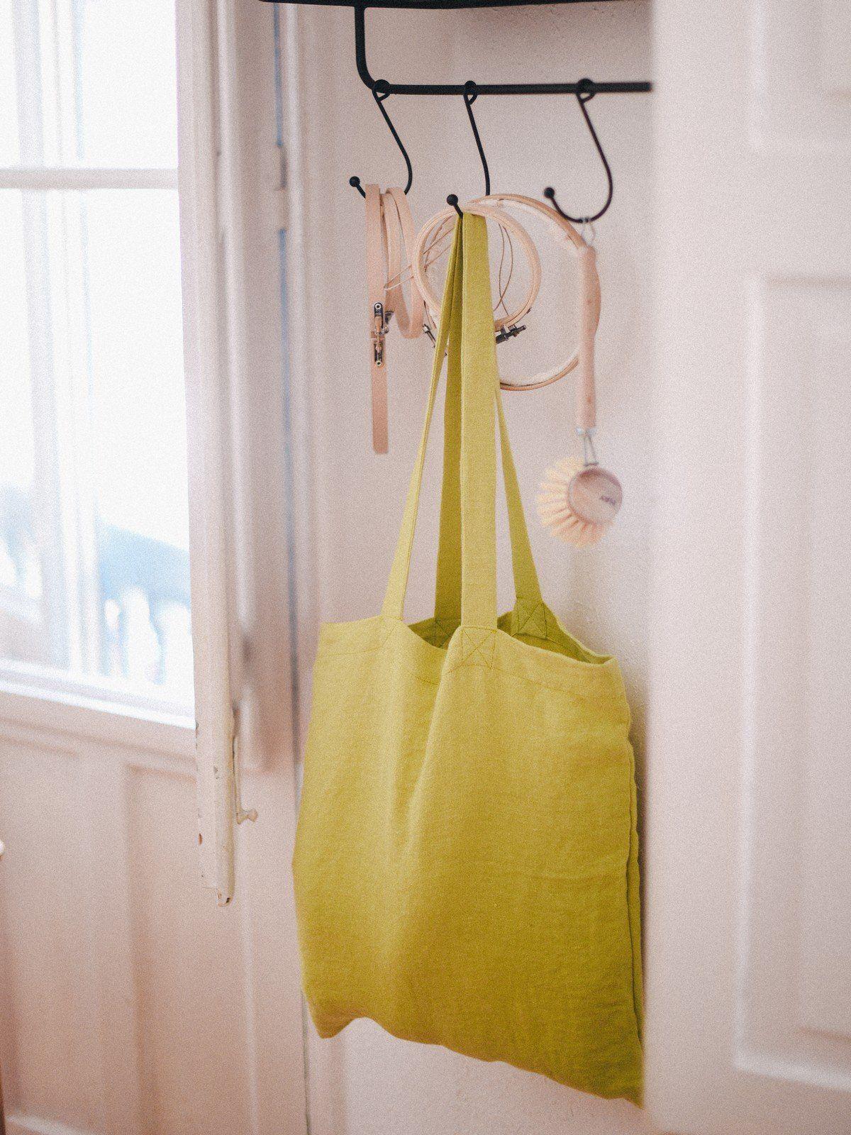 Bolsa de lino amarilla