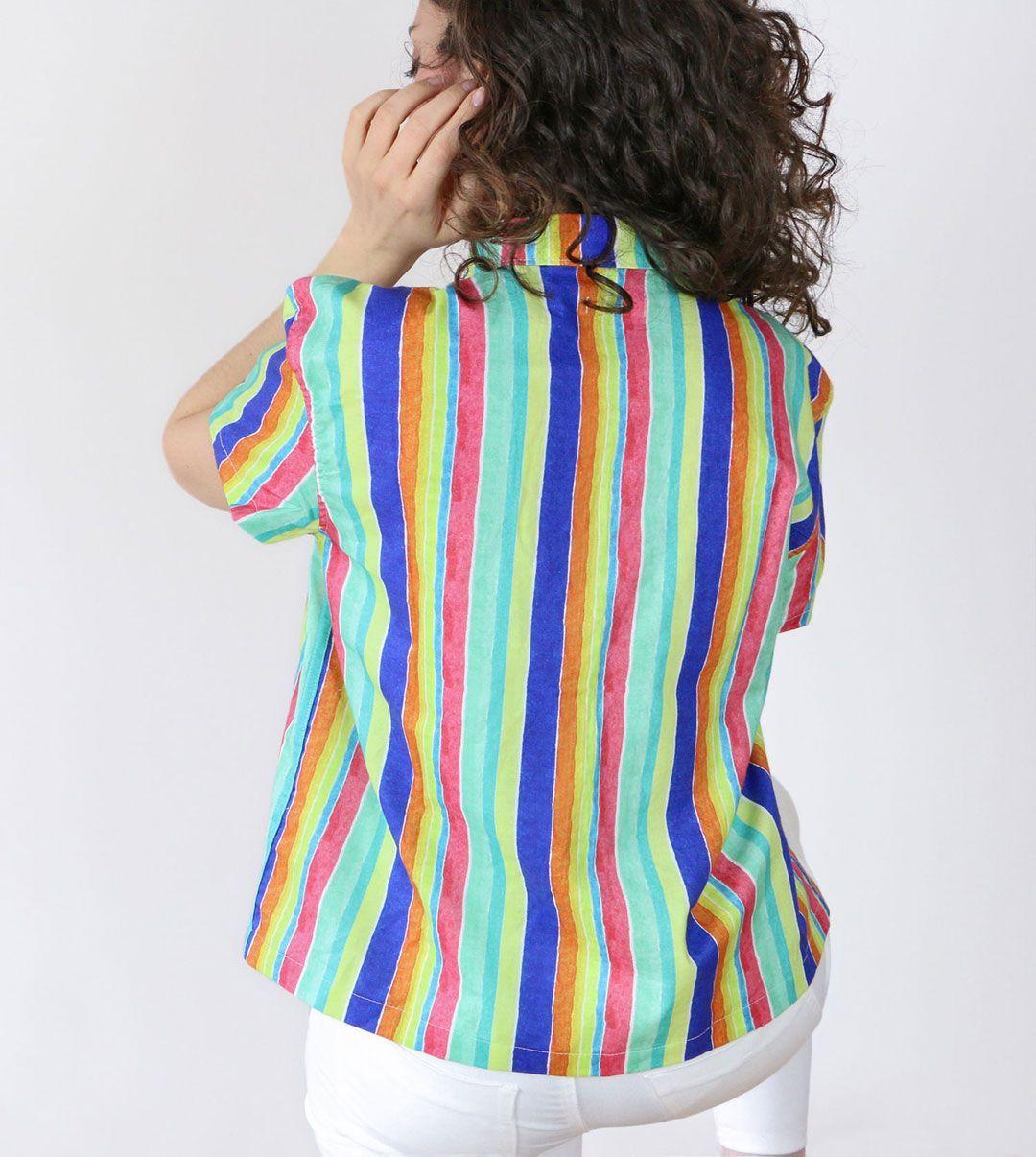 Camisa coral algodón orgánico mujer espalda