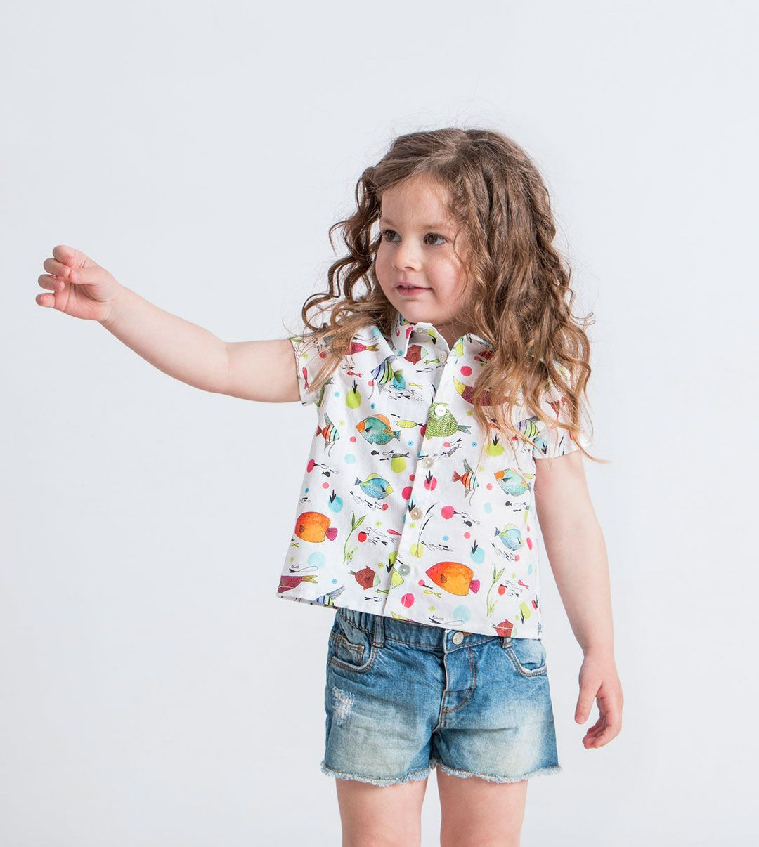 Camisa infantil peces algodón orgánico