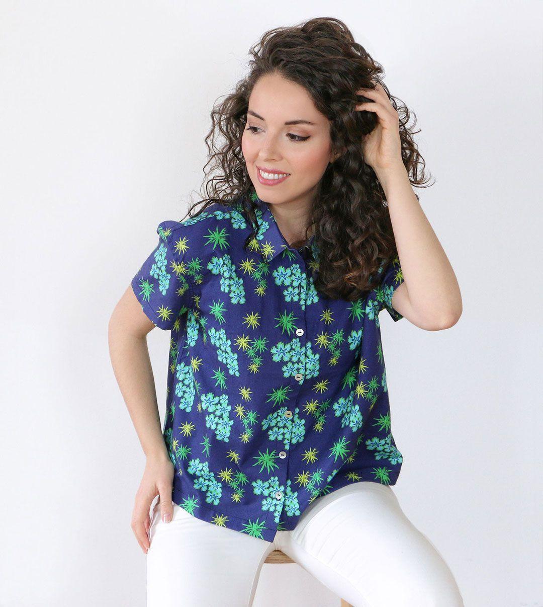 Camisa mujer anémonas algodón orgánico