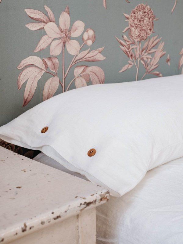Funda almohada de lino lavado blanco
