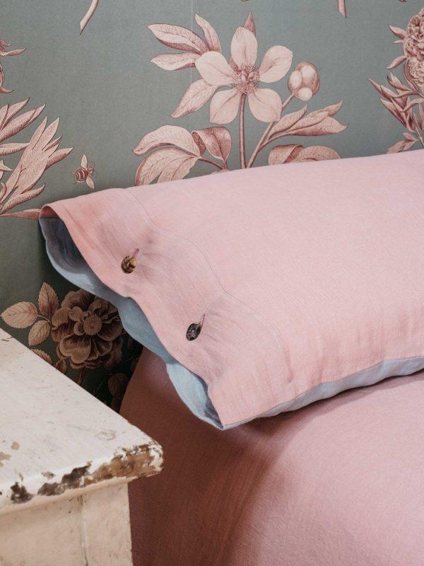 Funda almohada de lino lavado rosa