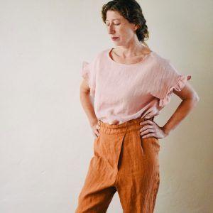 Pantalón de lino largo mujer con pliegue delantero