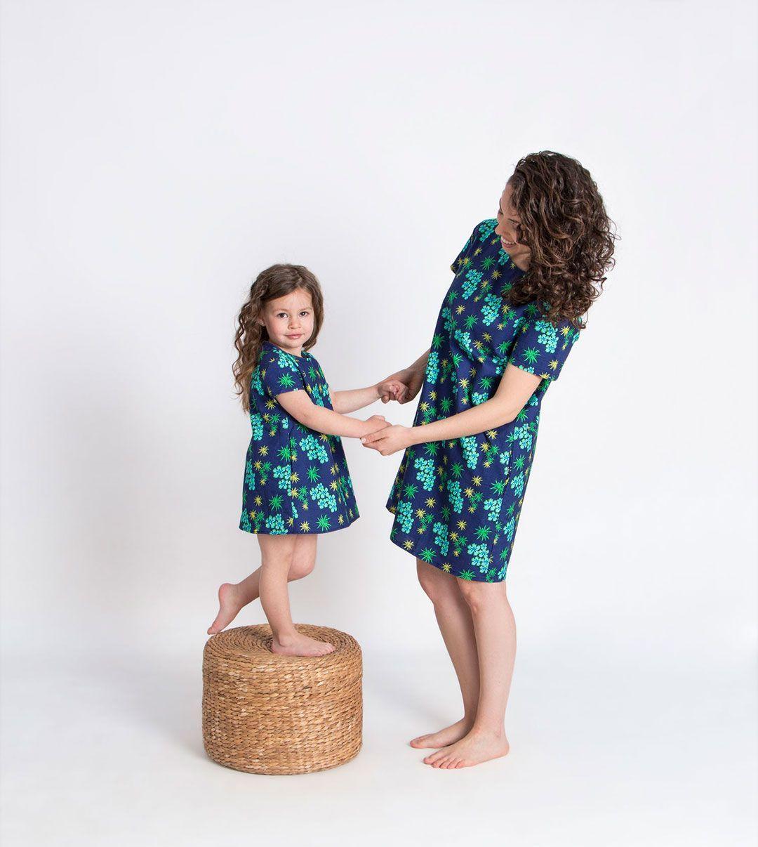 Vestido algodón orgánico anémonas mujer niña