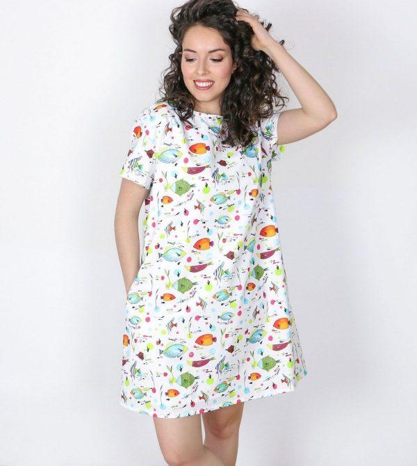 Vestido mujer peces algodón orgánico