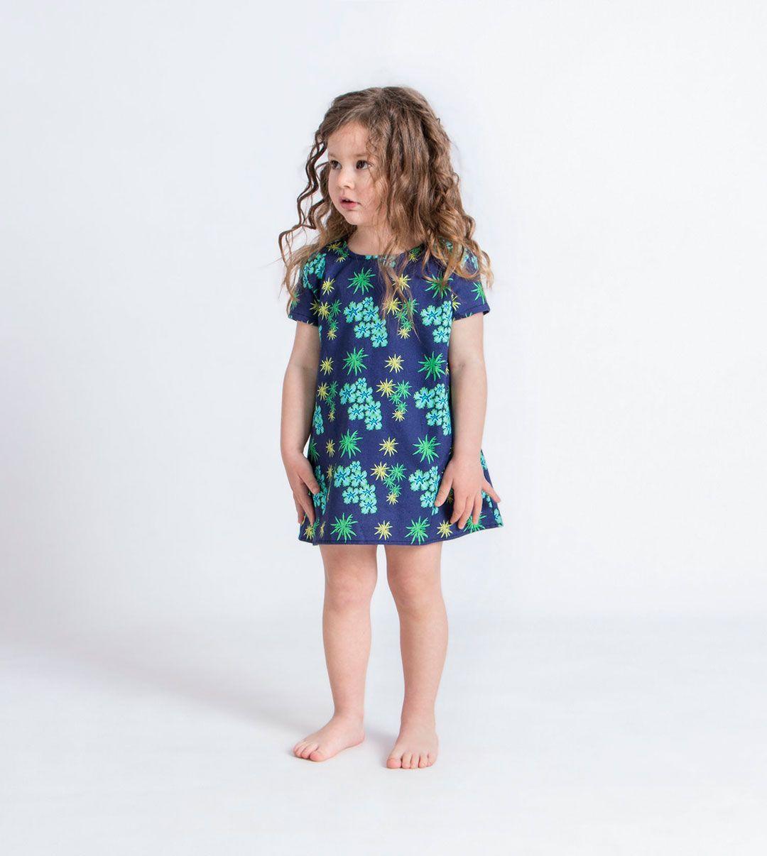 Vestido niña anémonas algodón orgánico